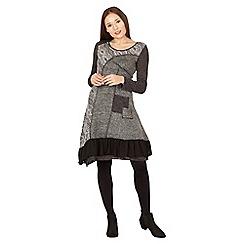 Izabel London - Black long sleeve patchwork dress
