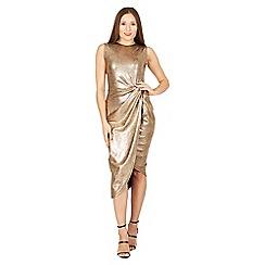 Izabel London - Gold side pleat glitter dress