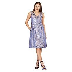 Izabel London - Blue jacquard v-neck fit and flare dress