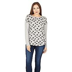 Izabel London - Grey leaf print jersey top