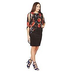 Izabel London - Black floral cold shoulder pencil dress