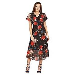 Izabel London - Black floral print v back midi dress