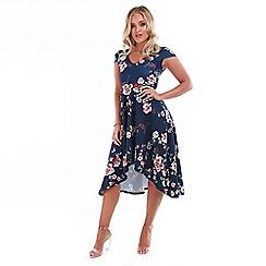 Be Jealous - Navy cut shoulder high low dress