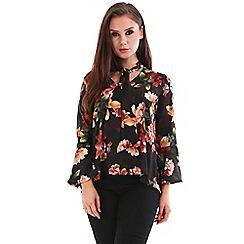 Be Jealous - Black floral tie neck blouse