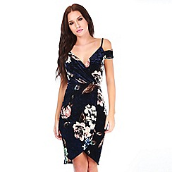 Be Jealous - Navy cut out shoulder dress