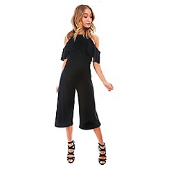 Be Jealous - Black frill top culotte jumpsuit