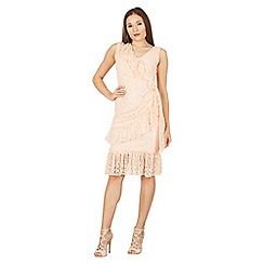 Feverfish - Peach lace frill side tie dress