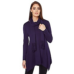 Roman Originals - Plum plain tunic top with scarf