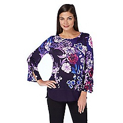 Roman Originals - Purple tie sleeves floral top