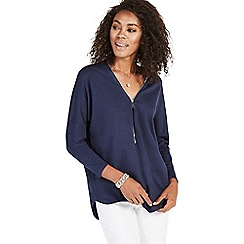 Apricot - Navy oversized front zip jumper