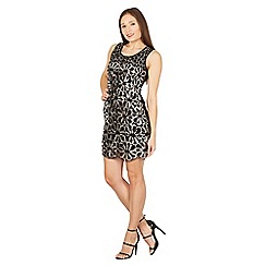 Izabel London - Black floral sequin shift dress