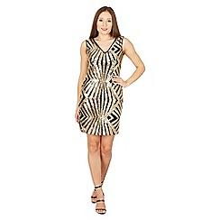 Izabel London - Gold sequin zig zag shift dress