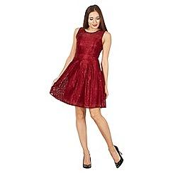 Tenki - Maroon sleeveless lace skater dress