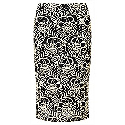 Lavitta - Gold contrast lace pencil skirt