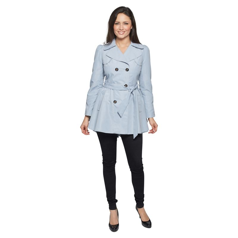 David Barry - Blue Ruched Slim Fit Trench Coat