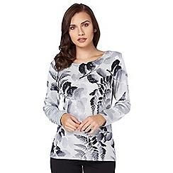 Roman Originals - Grey floral print jumper