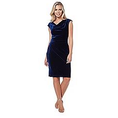 Roman Originals - Dark blue cowl neck velvet dress
