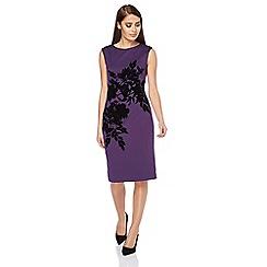 Roman Originals - Purple placement flock dress