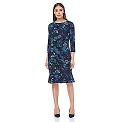 Roman Originals - Turquoise flocking print frill dress