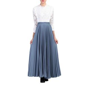 Jolie Moi Dark grey pleated crepe maxi skirt
