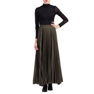 Jolie Moi Green pleated crepe maxi skirt