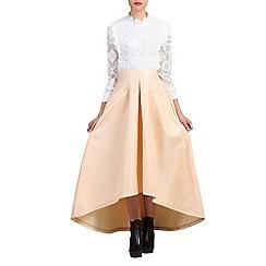 Jolie Moi - Natural jacquard high low hem prom skirt