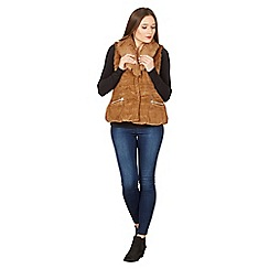 Apricot - Brown faux fur sleeveless jacket