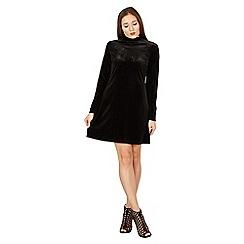 Izabel London - Black velvet high neck swing dress