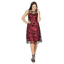 Izabel London - Wine sweetheart neck lace overlay dress