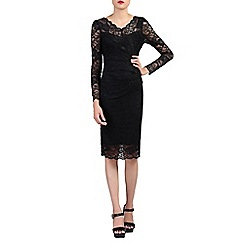 Jolie Moi - Black long sleeves v neck lace dress