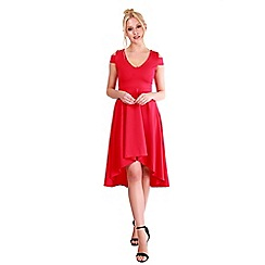 Be Jealous - Red cold shoulder high-low skater dress
