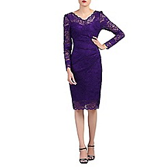 Jolie Moi - Purple long sleeves v neck lace dress