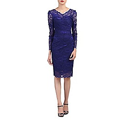 Jolie Moi - Blue long sleeves v neck lace dress