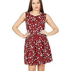 Tenki - Maroon sleeveless floral skater dress