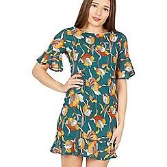 Tenki - Green floral ruffled shift dress
