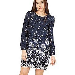 Tenki - Blue full sleeves patterned shift dress
