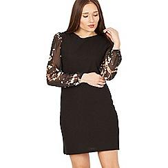 Tenki - Black full sleeves patterned shift dress