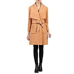 Jolie Moi - Beige lapel wrap front wool blend coat