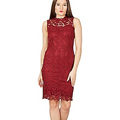 Izabel London - Wine crochet overlay bodycon lace dress