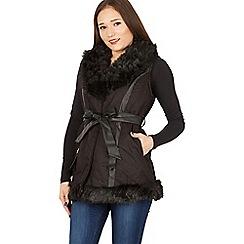Izabel London - Black embroidered detail fur vest