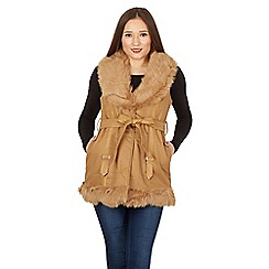 Izabel London - Camel embroidered detail fur vest