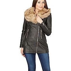 Izabel London - Black faux fur collar biker coat