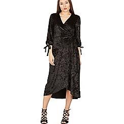 MISSTRUTH - Black velvet wrap midi dress
