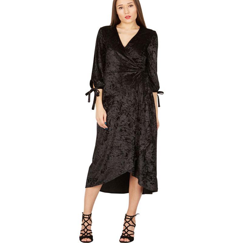 MISSTRUTH Black velvet wrap midi dress