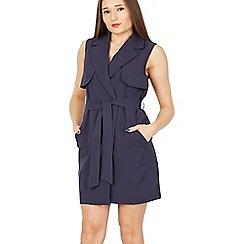MISSTRUTH - Navy sleeveless belted trench coat