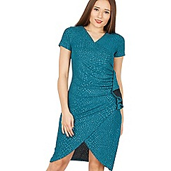 Tenki - Turquoise short sleeve v-neck ruched waist dress