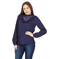 Tenki - Blue full sleeve ruffled front plain top