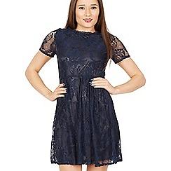 Tenki - Blue short sleeve plain lace dress