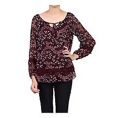 Jolie Moi - Red crochet lace insert smock blouse