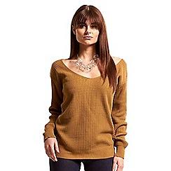 Be Jealous - Beige v neck off shoulder knit jumper